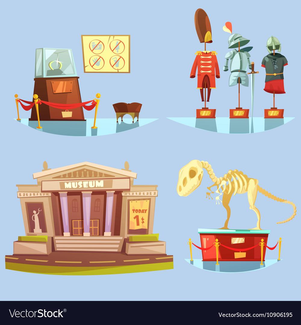 Museum Retro Cartoon 2x2 Flat Icons Set vector image