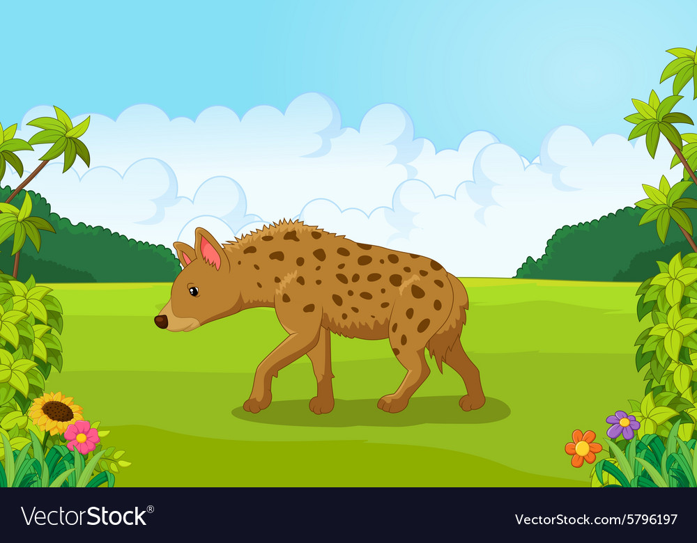 Cartoon hyena from the side vector image