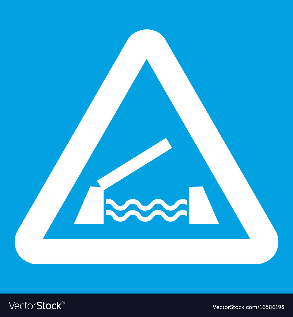 Lifting bridge warning sign icon white vector image