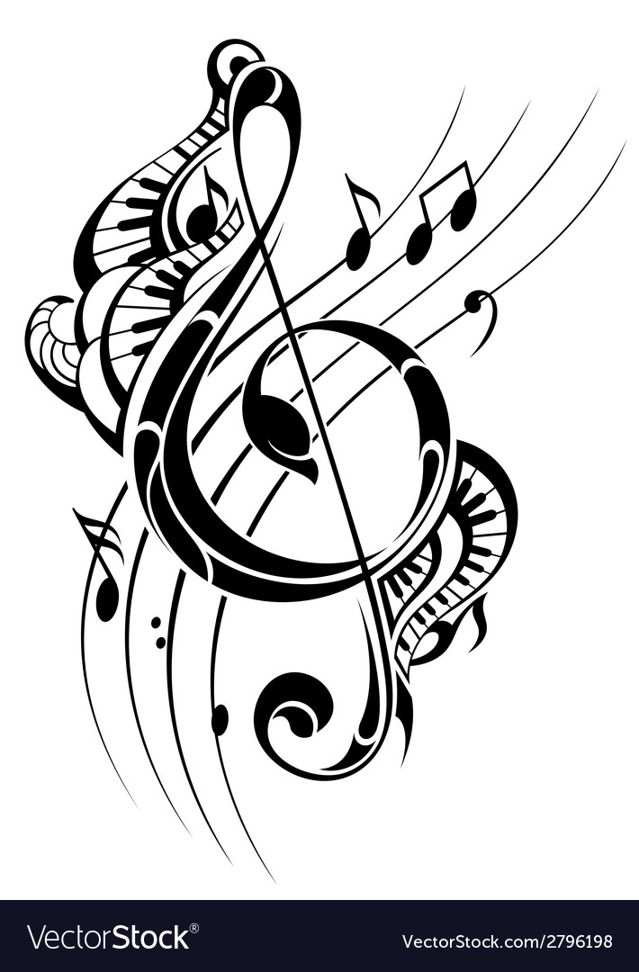 Music note background vector image