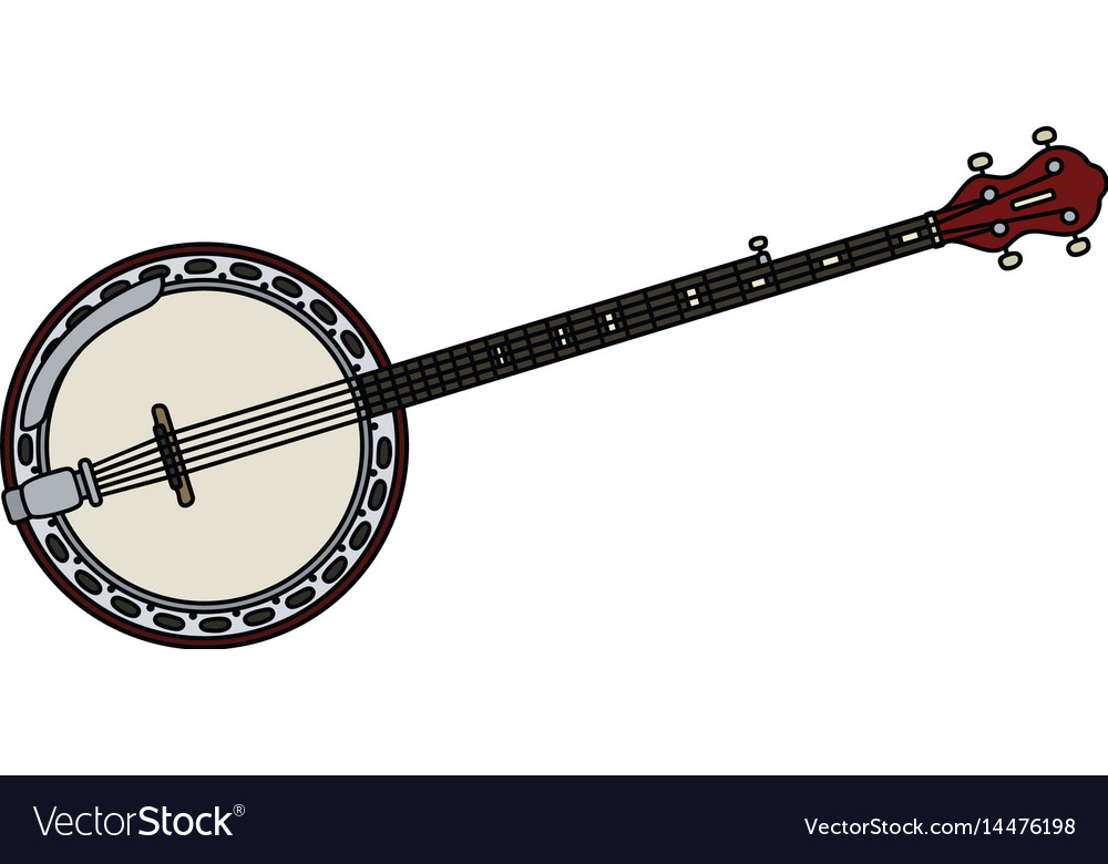 Red five string banjo vector image