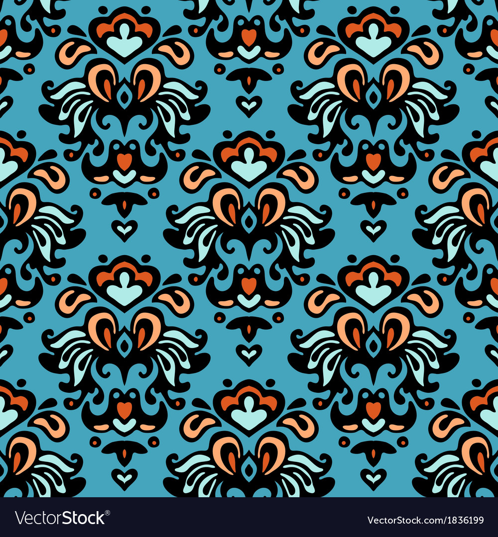 Flower pattern seamless paisley design vector image