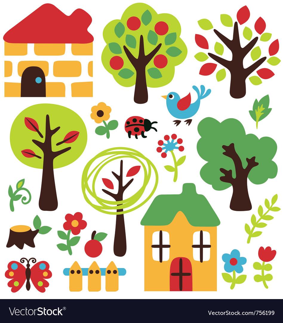 Cartoon garden and animal icon vector image