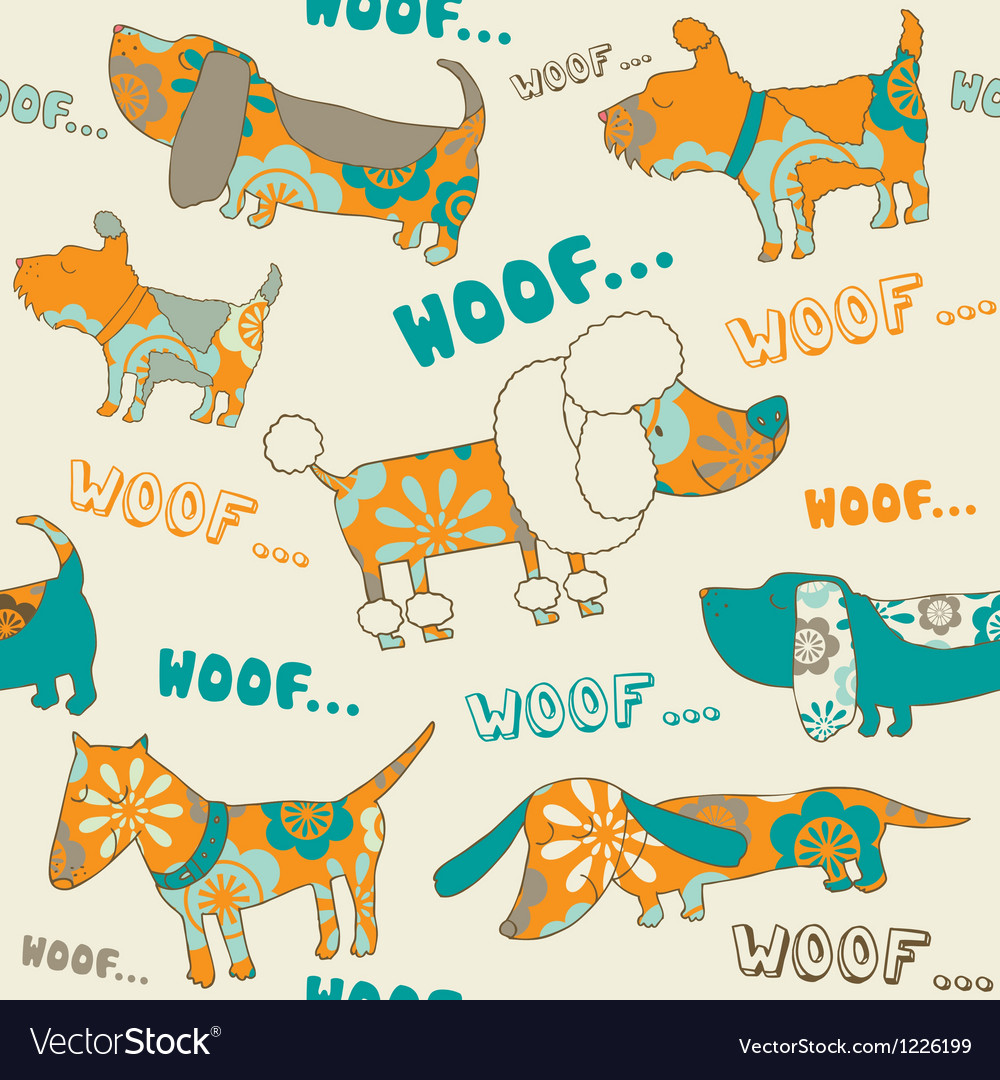 Seamless background with dogs vector image