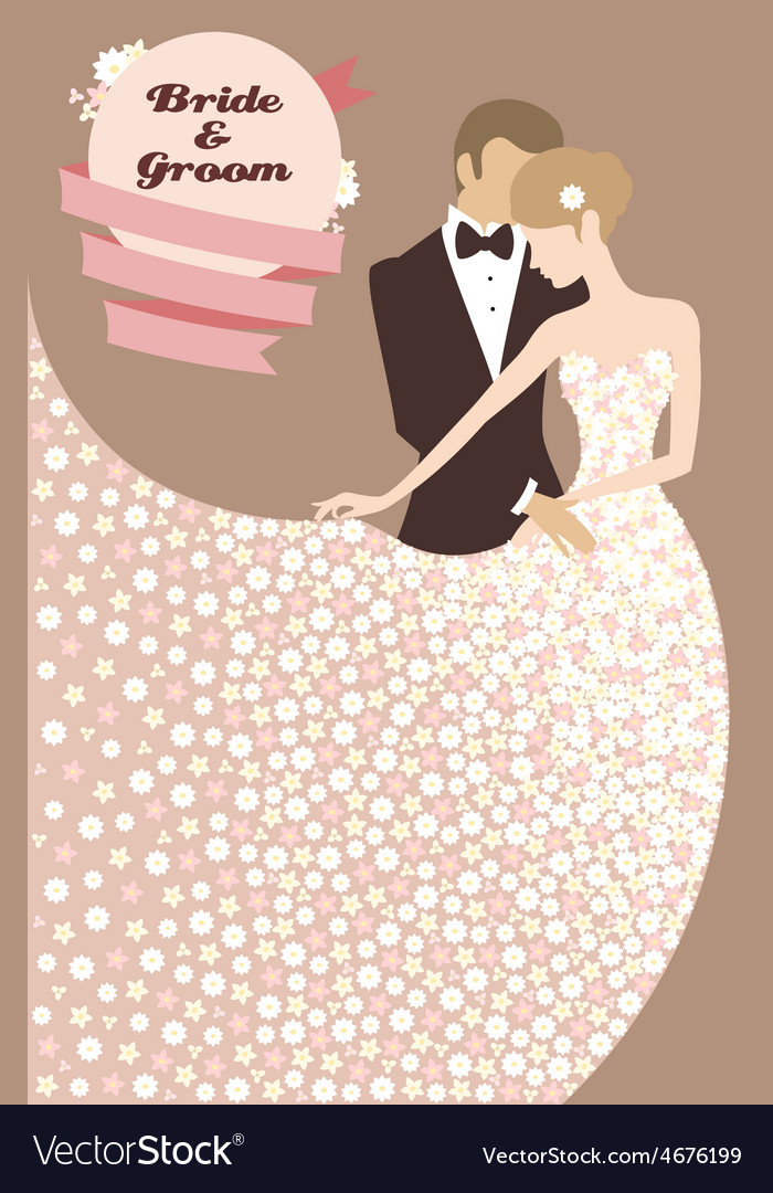 Wedding invitation with bride and groom Royalty Free Vector