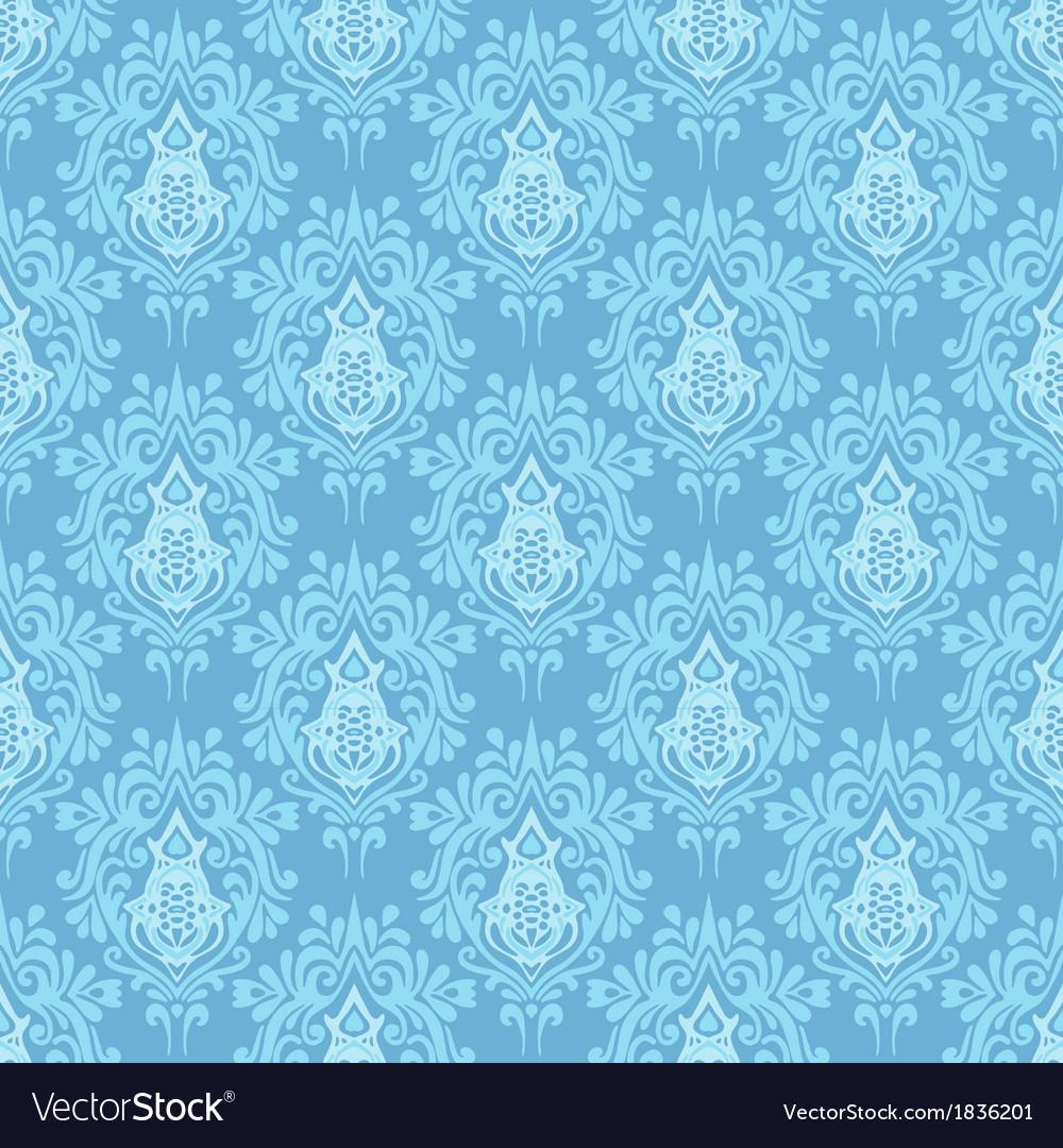 Blue damask seamless pattern background vector image