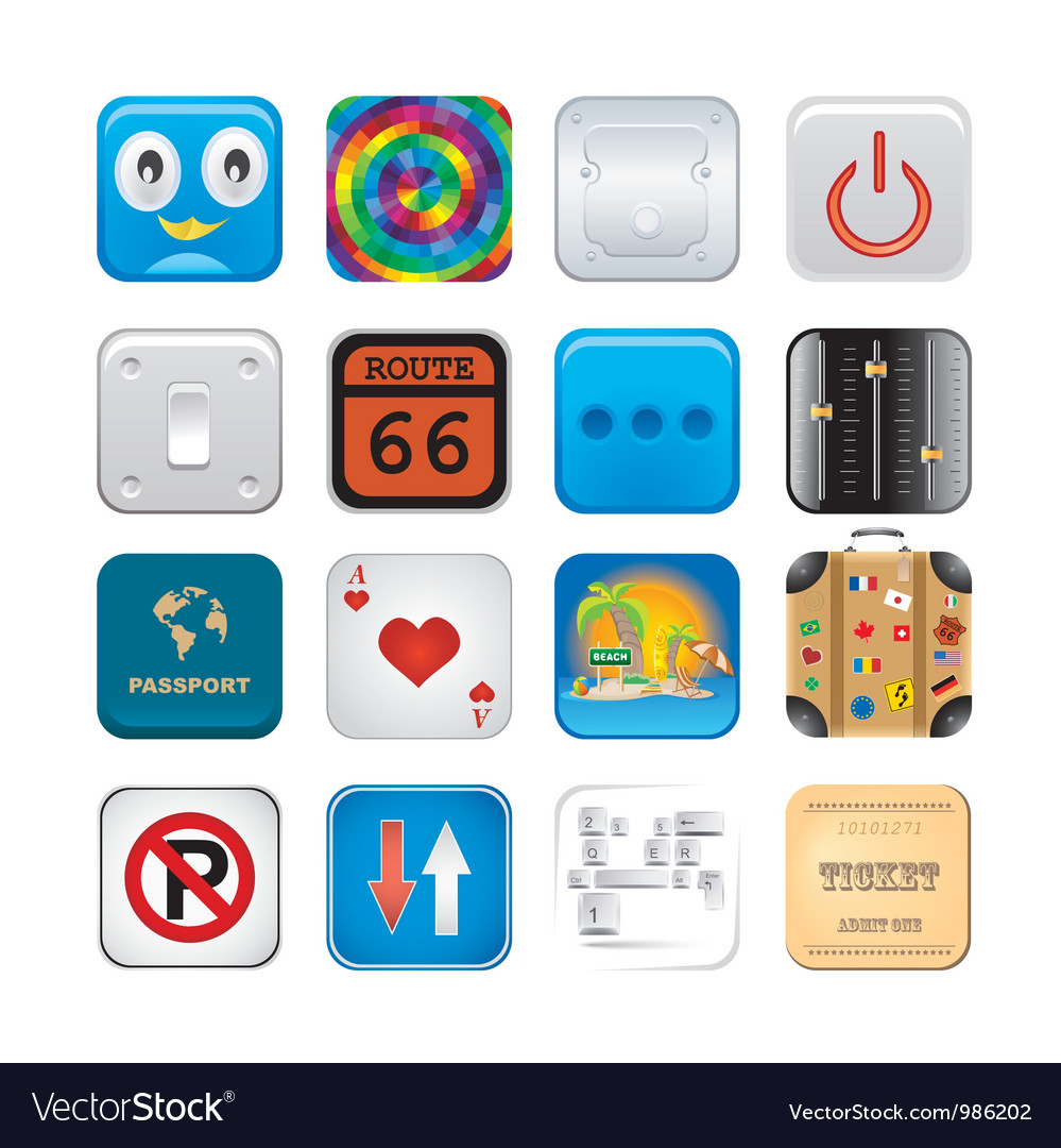 Apps icon set six vector image