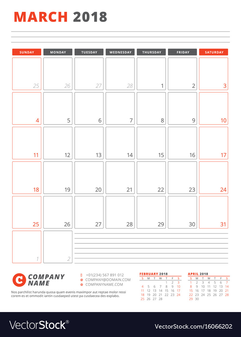Calendar template for 2018 year march business vector image
