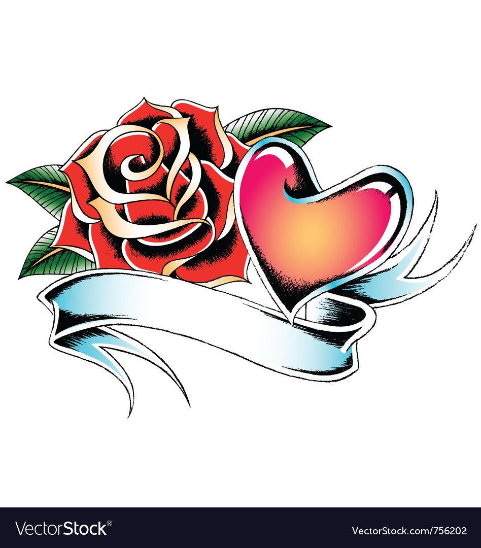 Heart With Rose And Banner: Rose And Heart Decorative Banner Royalty Free Vector Image