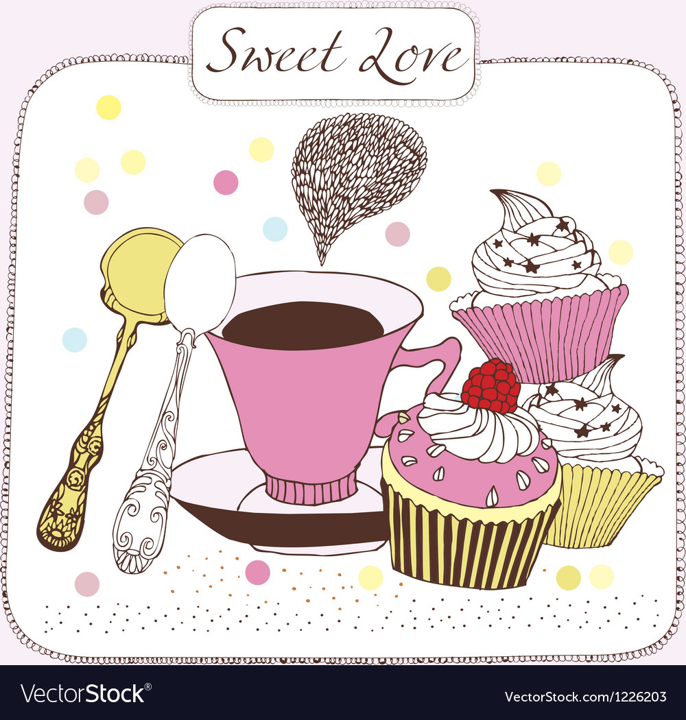 Sweet love background with tea vector image