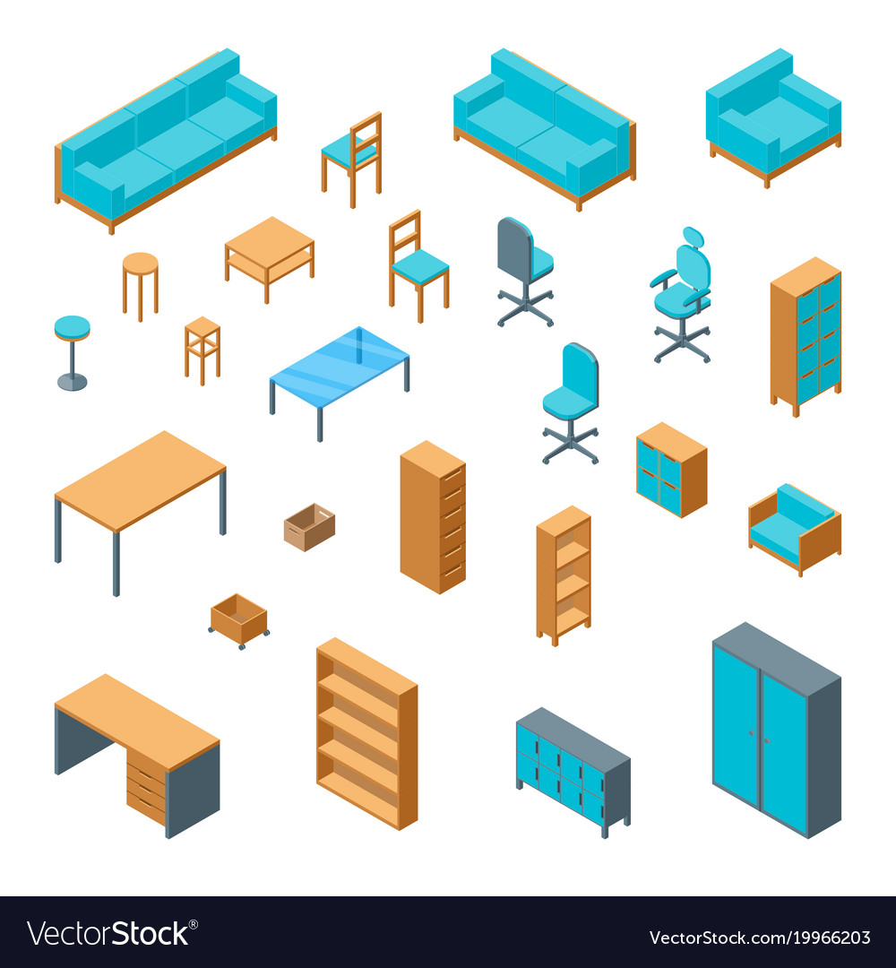 isometric office furniture vector collection. Isometric Office Furniture Vector Collection M