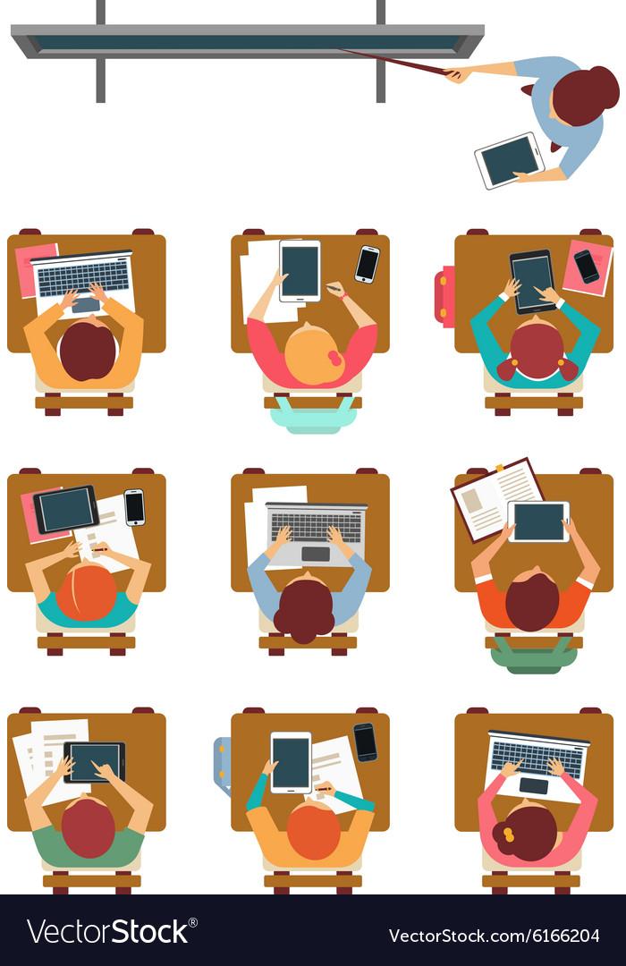 Modern Classroom Vector ~ Modern classroom top view in flat design vector image