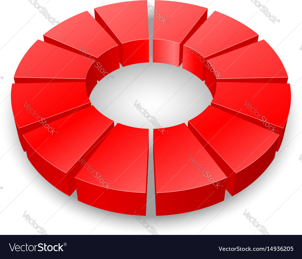 Red circular diagram isolated on white background vector image