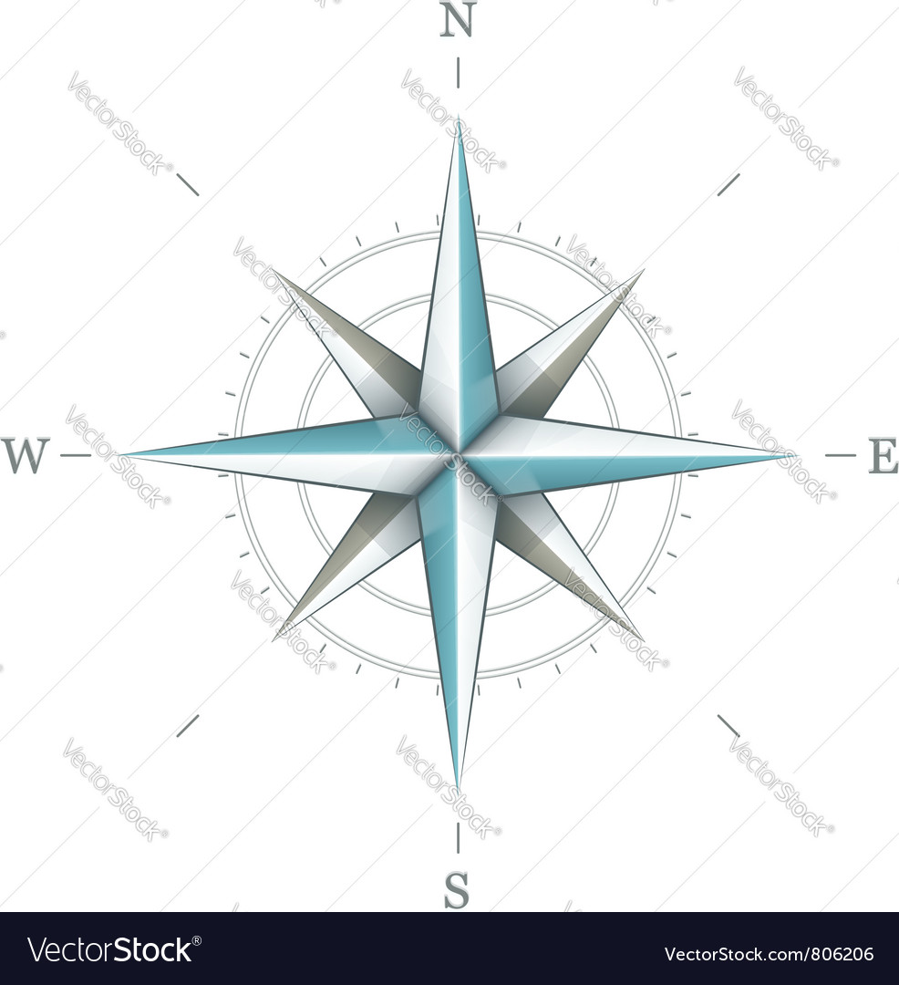 Antique wind rose symbol for Vector Image