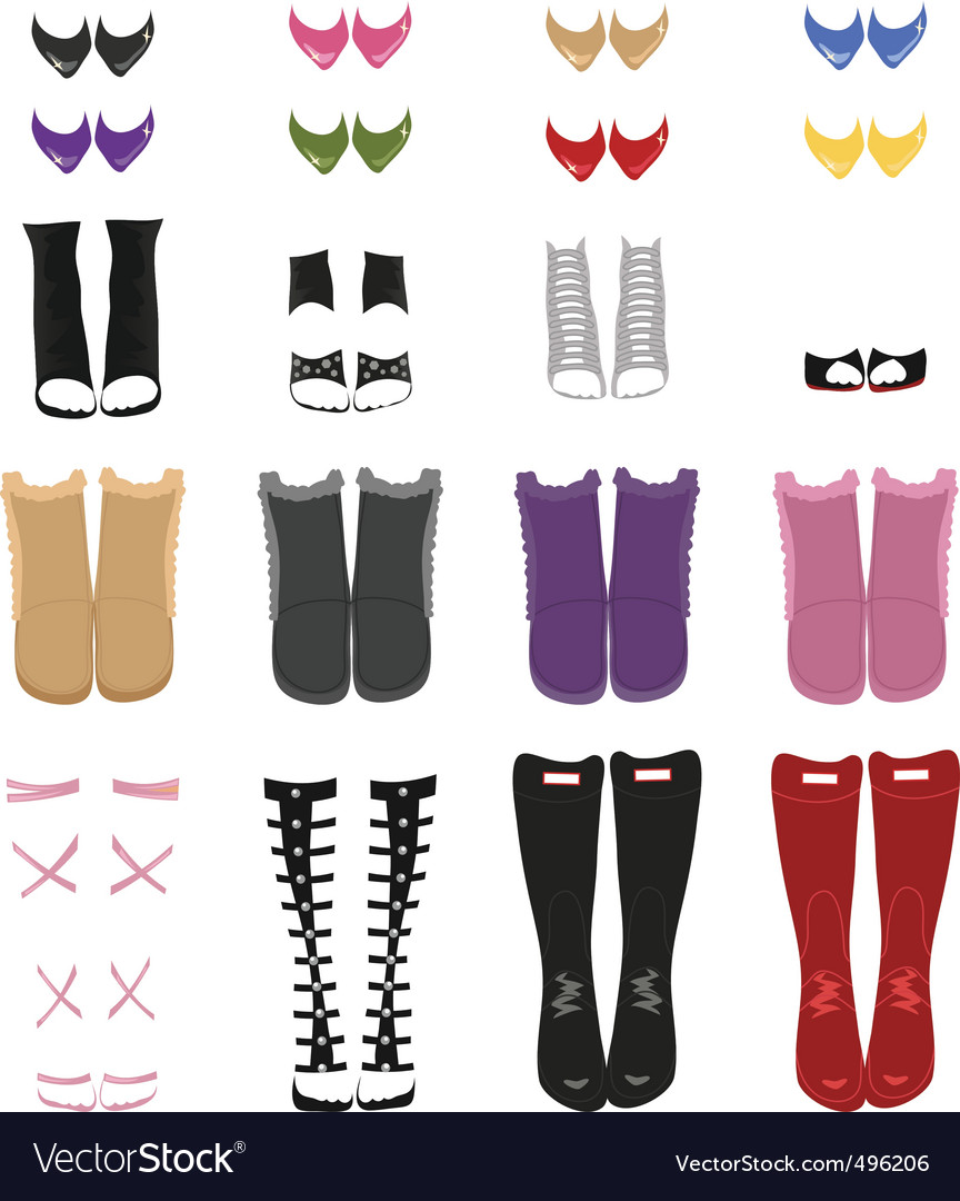 Set of female shoes vector image