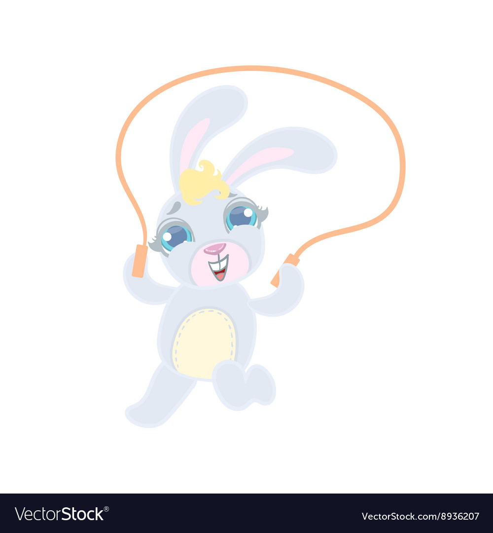 Bunny Jumping With Skip Rope vector image