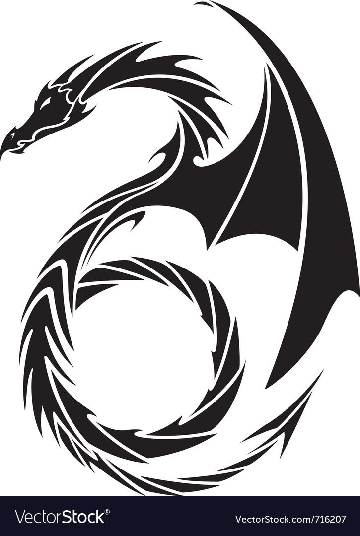dragon tattoo design royalty free vector image. Black Bedroom Furniture Sets. Home Design Ideas