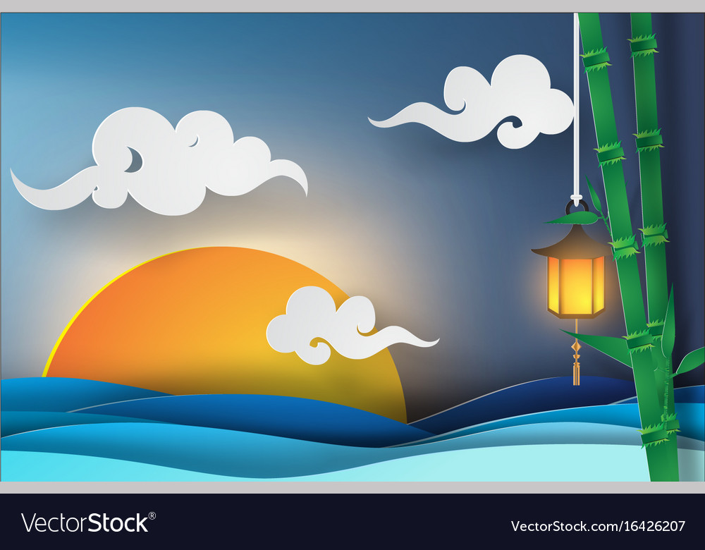 Paper art of sea view with sunset light beautiful vector image