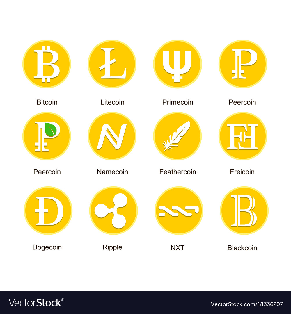 Set of different icons of cryptocurrency vector image