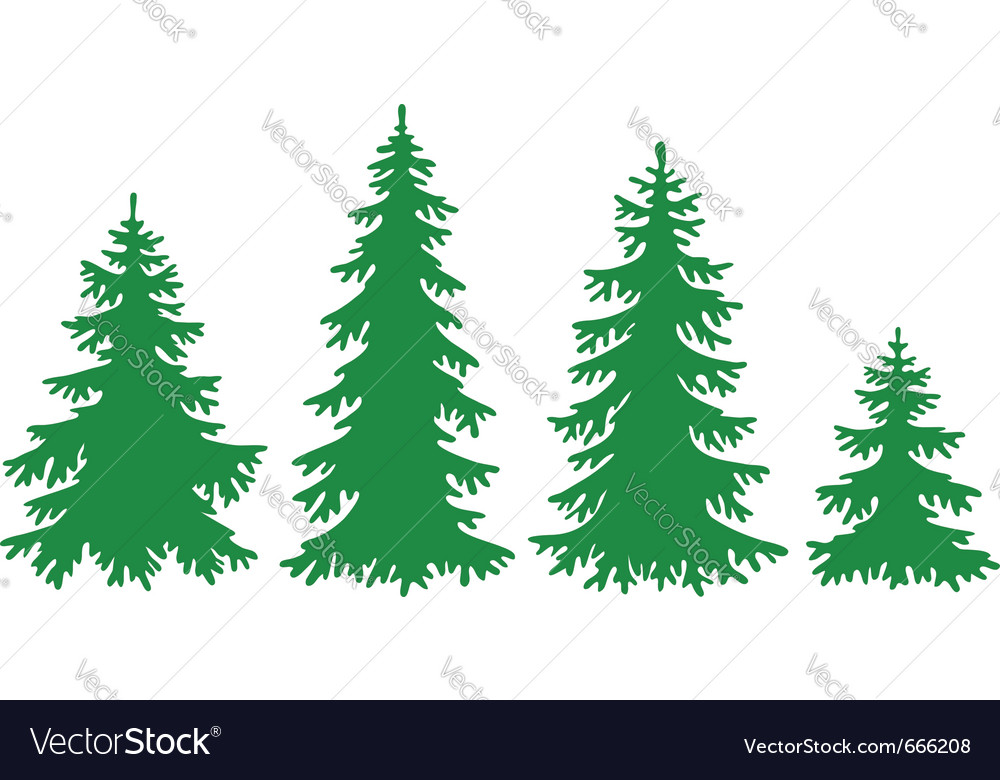 Silhouettes of fir-trees Vector Image