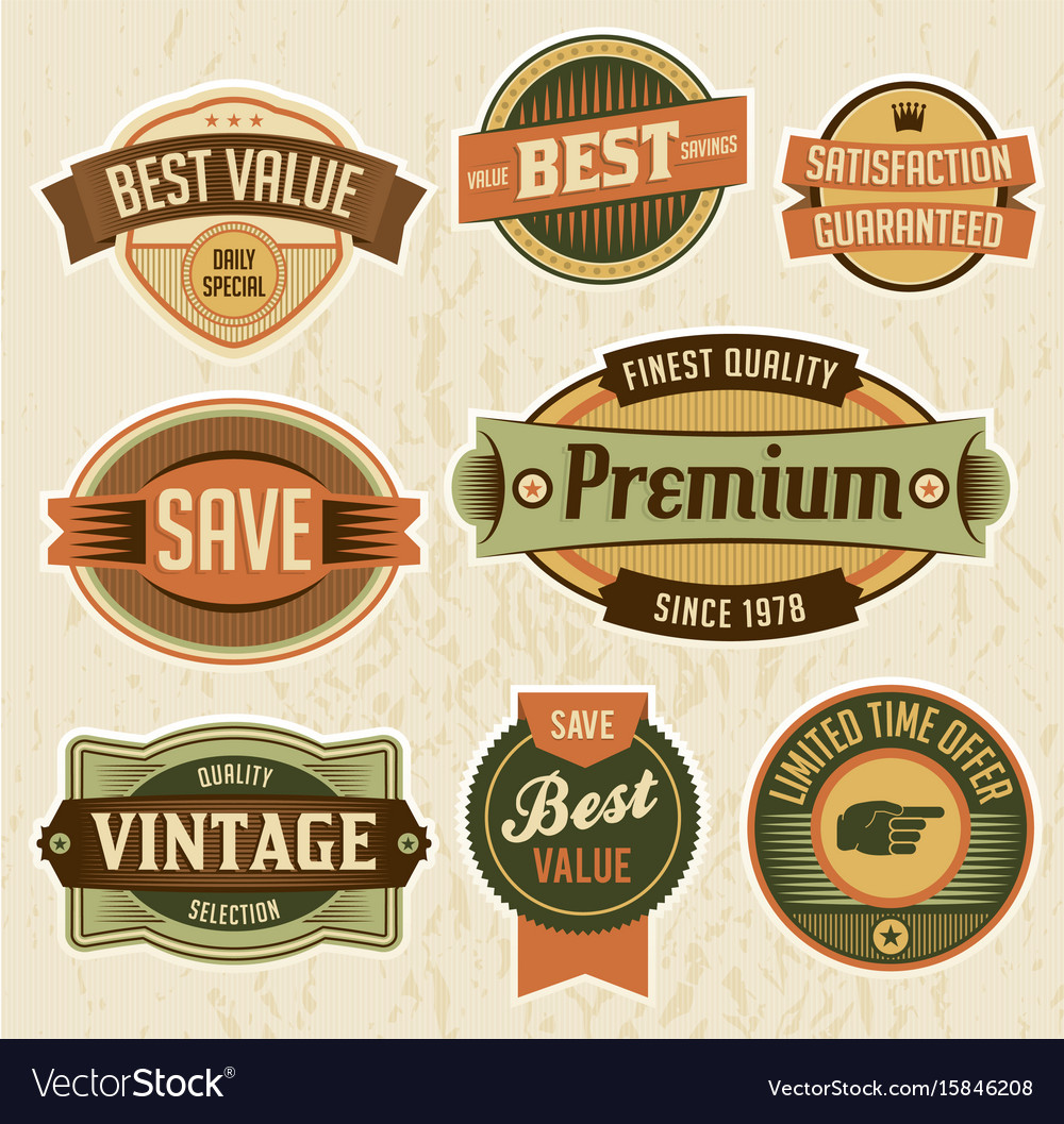 Retro business labels and badges vector image
