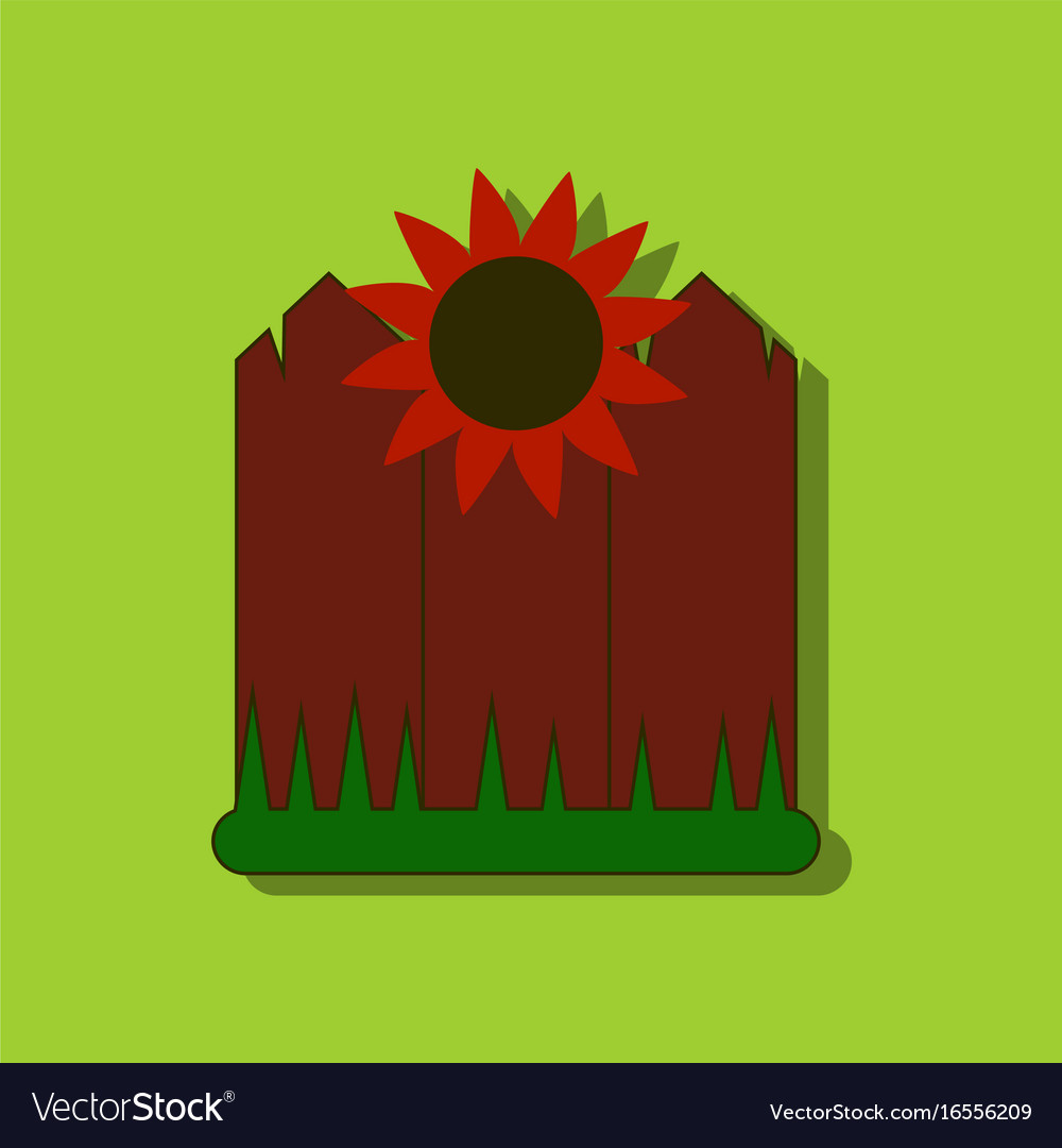 Flat icon design collection fence and sunflowers