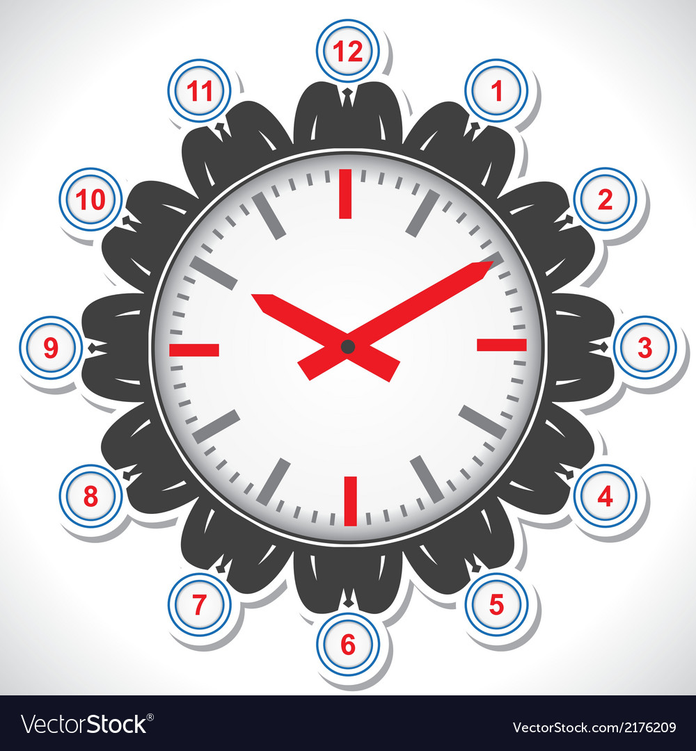 Man s face showing different views of a clock vector image