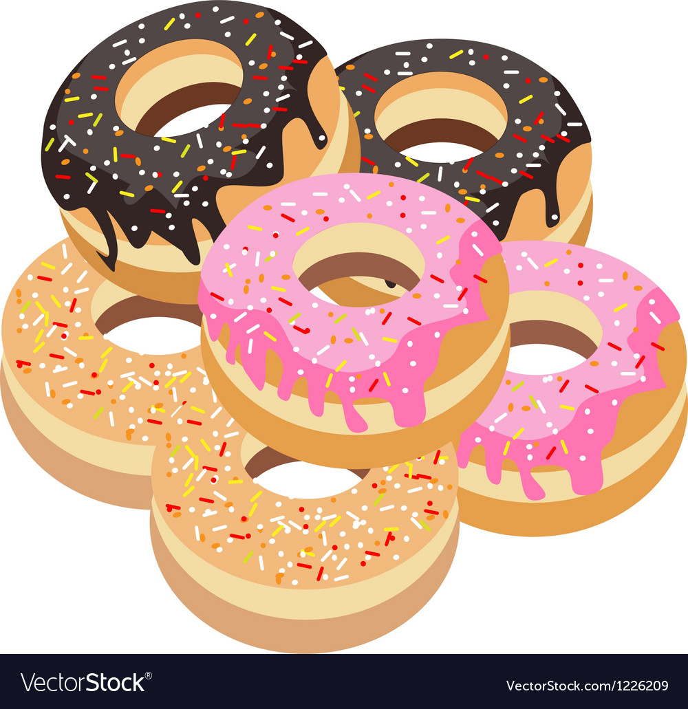 Six Glazed Donuts Assortment on White Background vector image