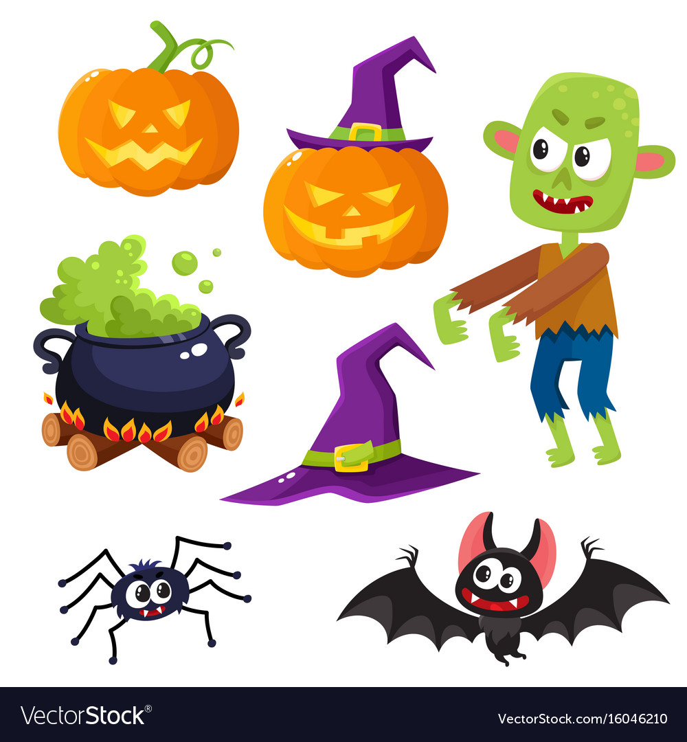 Halloween set - witch hat caldron pumpkin vector image