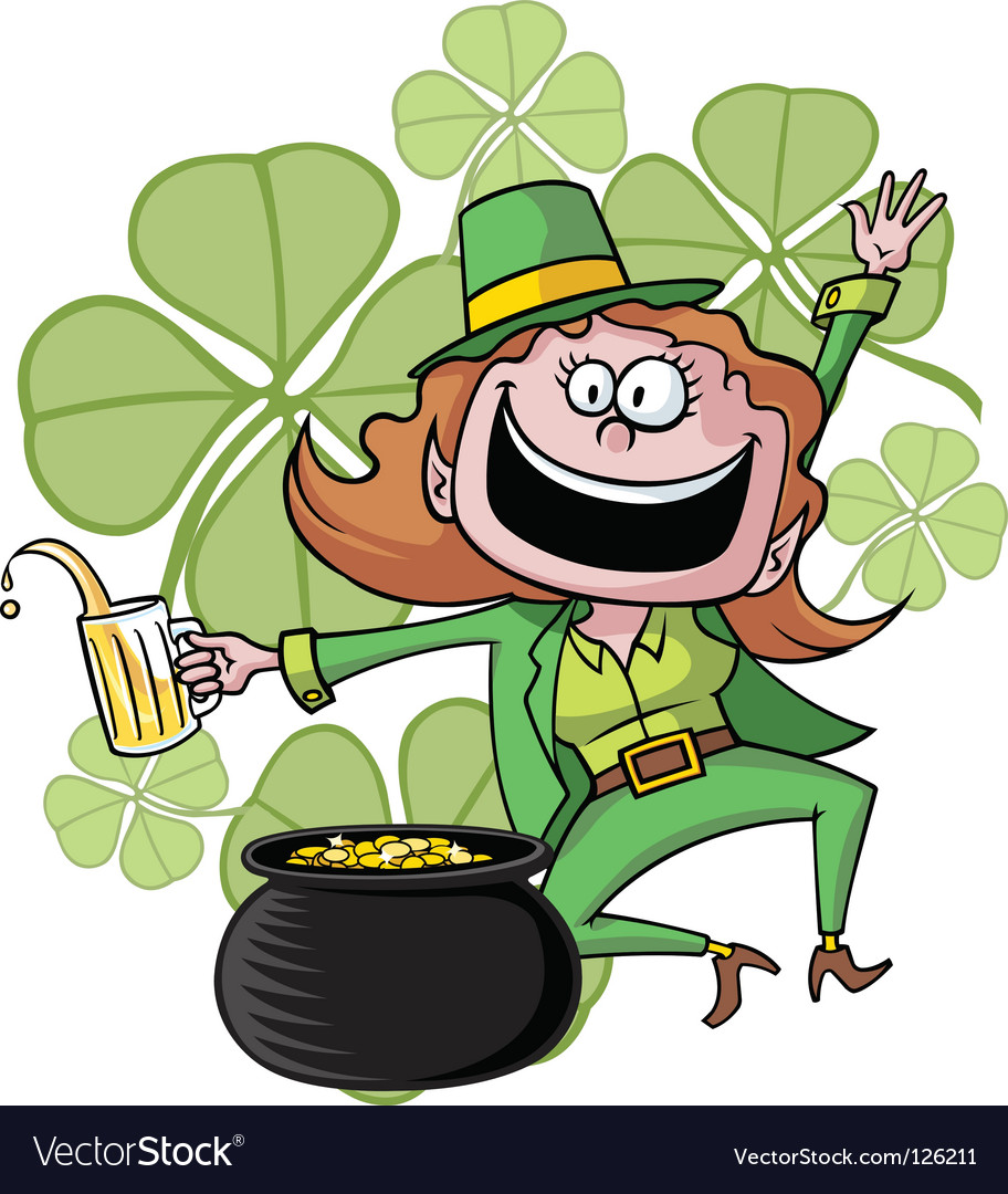leprechaun and his pot of gold royalty free vector image