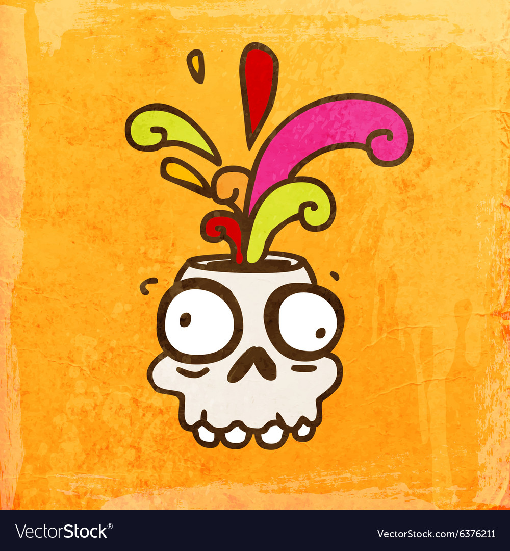 Skull with Paint Splatter Cartoon vector image