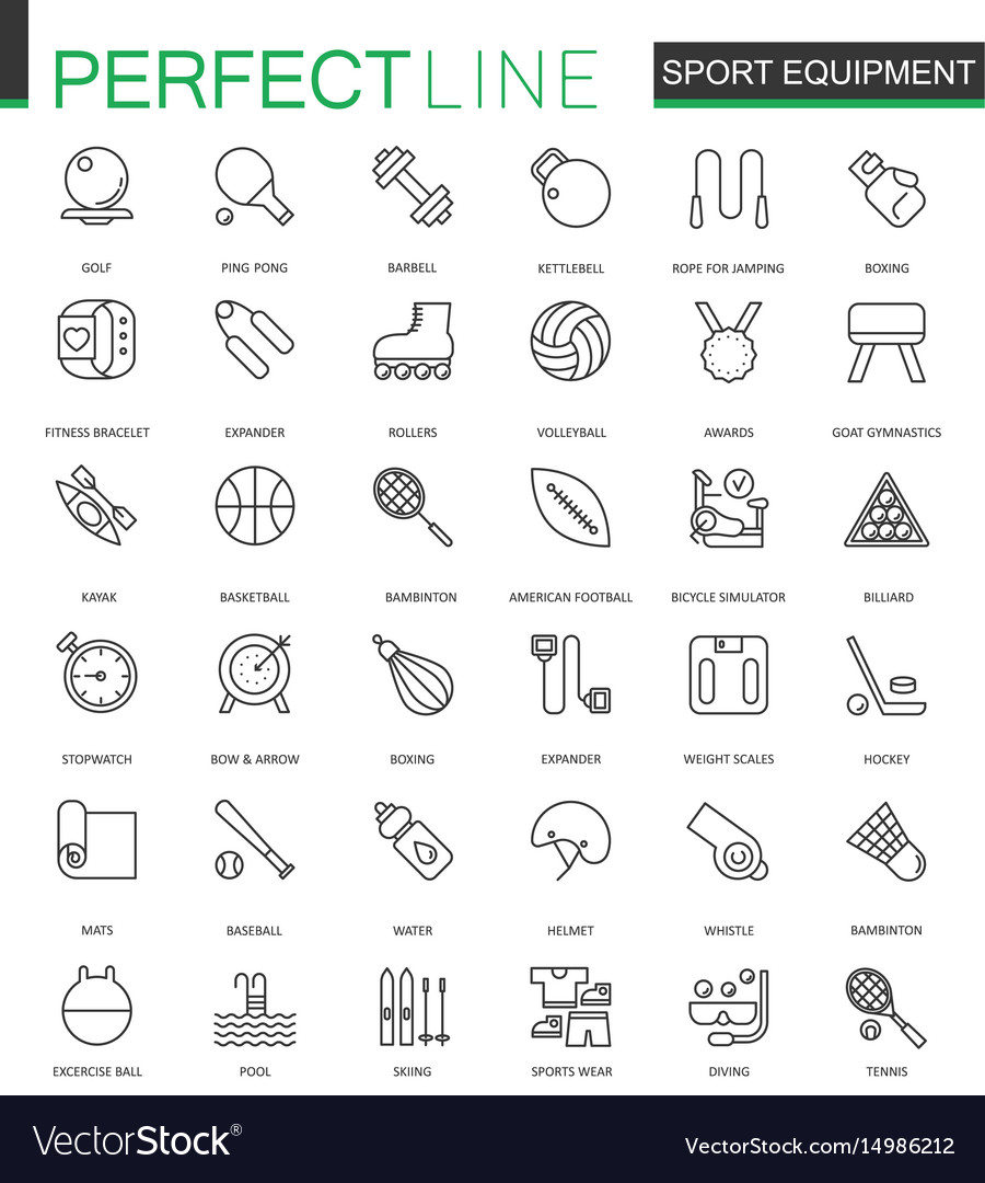 Sport equipment thin line web icons set outline vector image