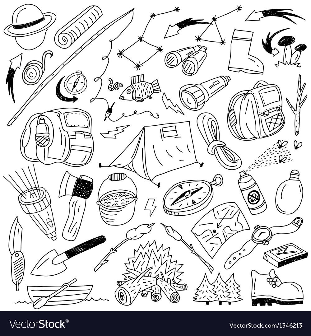 Camping - doodles vector image