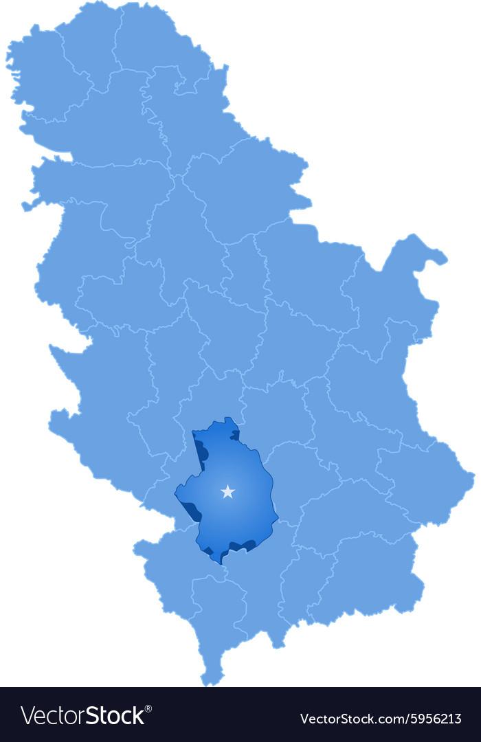 Map of Serbia Subdivision KosovskaMitrovica Vector Image