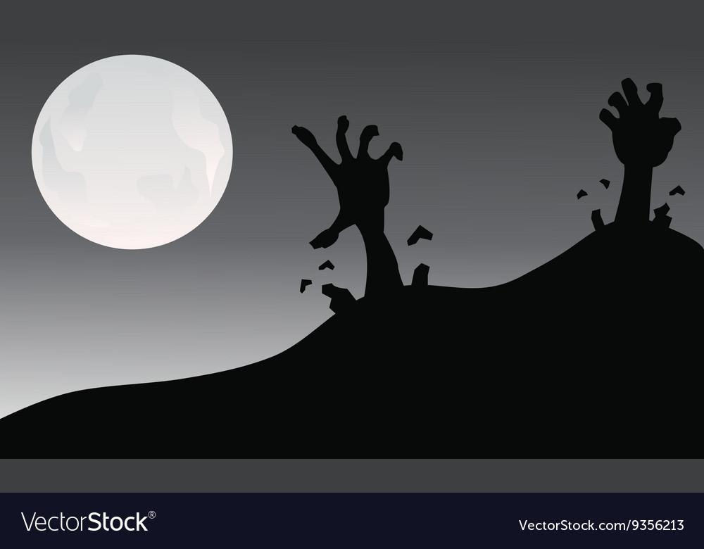 Silhouette of hand zombie halloween vector image
