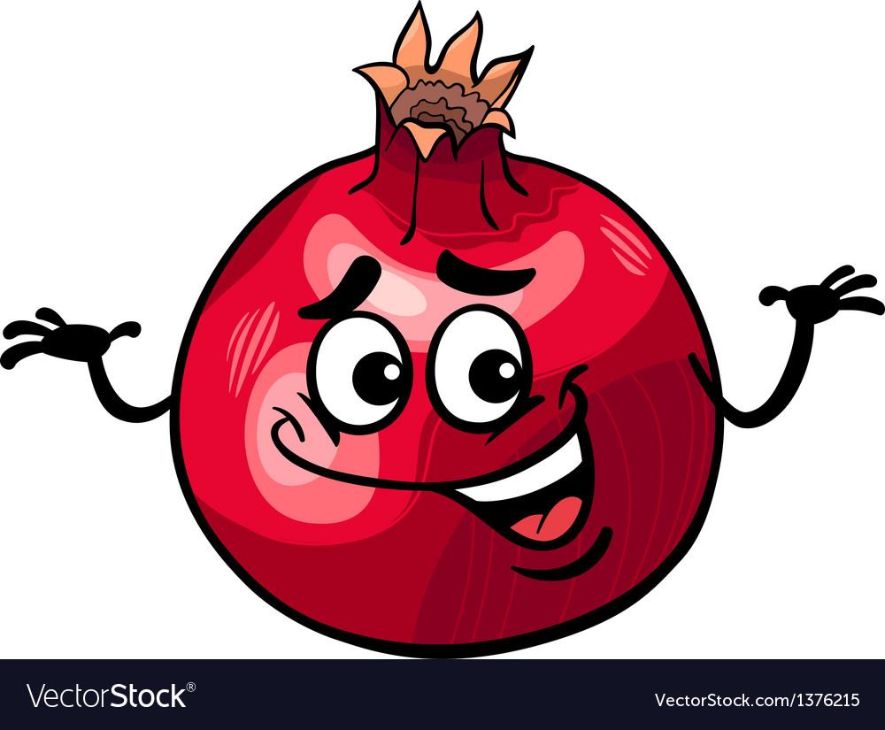 funny pomegranate fruit cartoon royalty free vector image