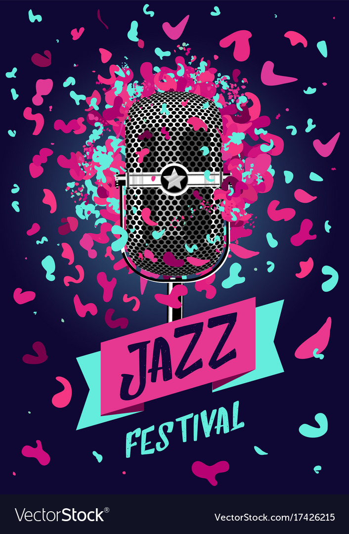 Jazz festival music poster with retro microphone vector image