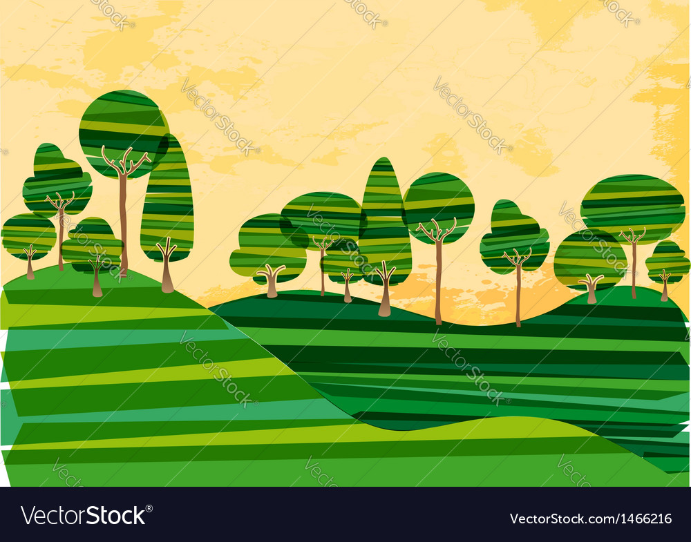 Green banded tree meadow vector image