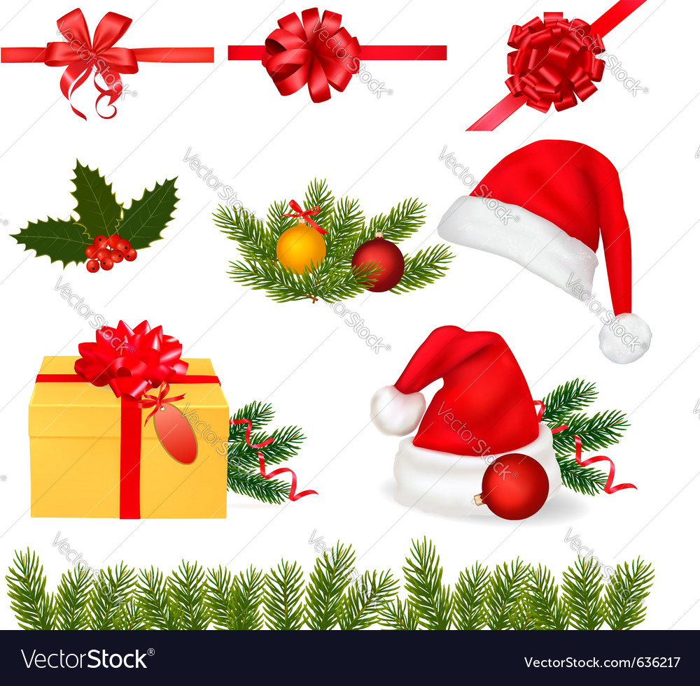 Set of christmas objects Vector Image