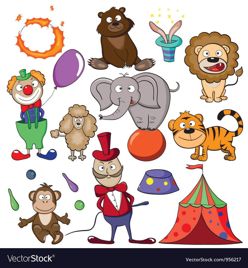 Circus doodle icon set vector image