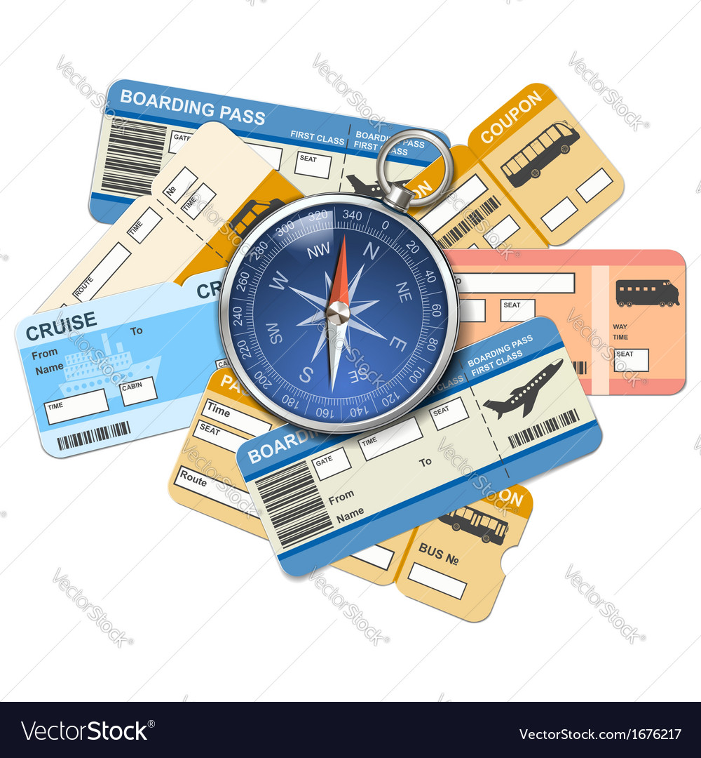 Compass and tickets vector image