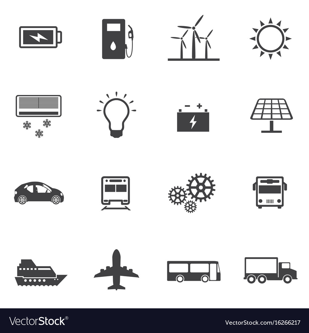 Renewable energy and ecology icon set vector image