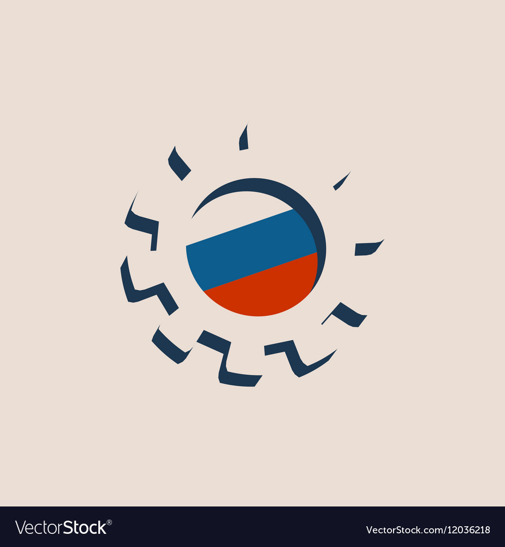 3D cog wheel with Russia flag vector image
