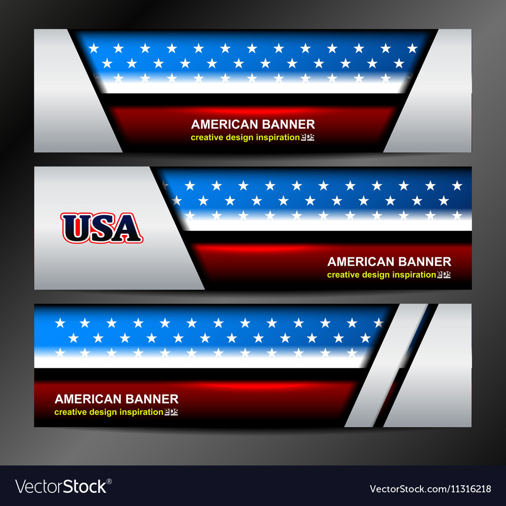 American Flag Color Banner Backgrounds vector image