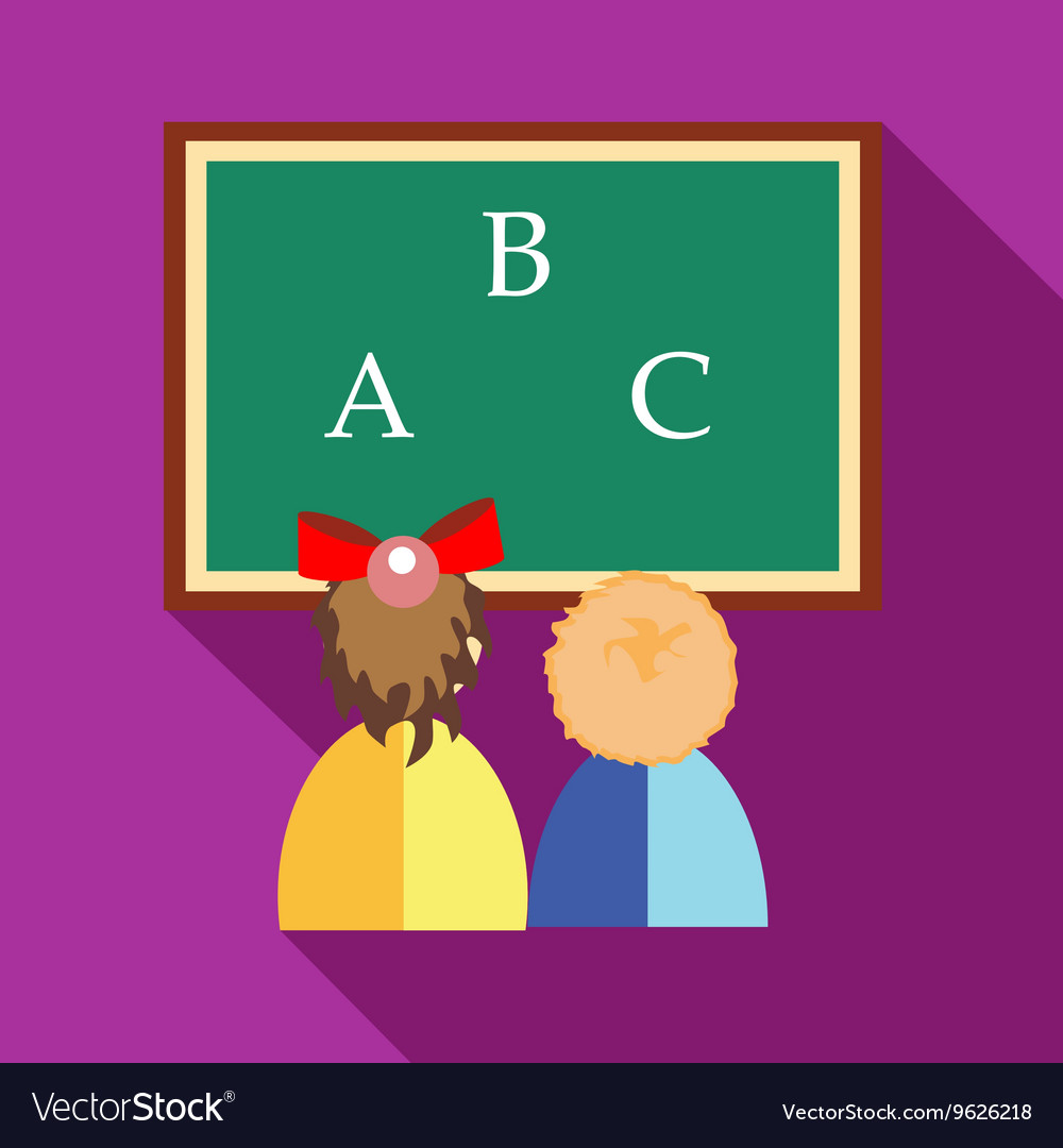 Girl and boy learning to write letters icon vector image