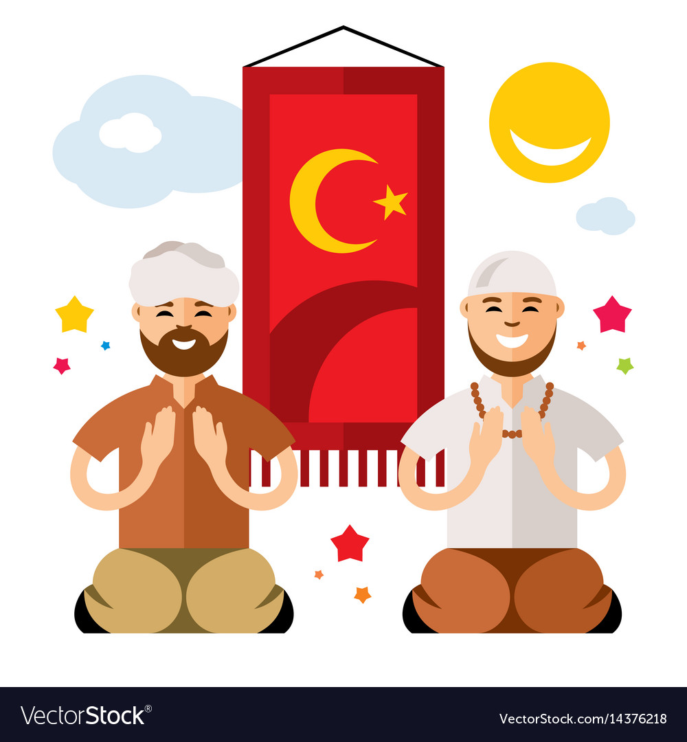 Islam islamic prayers flat style colorful vector image
