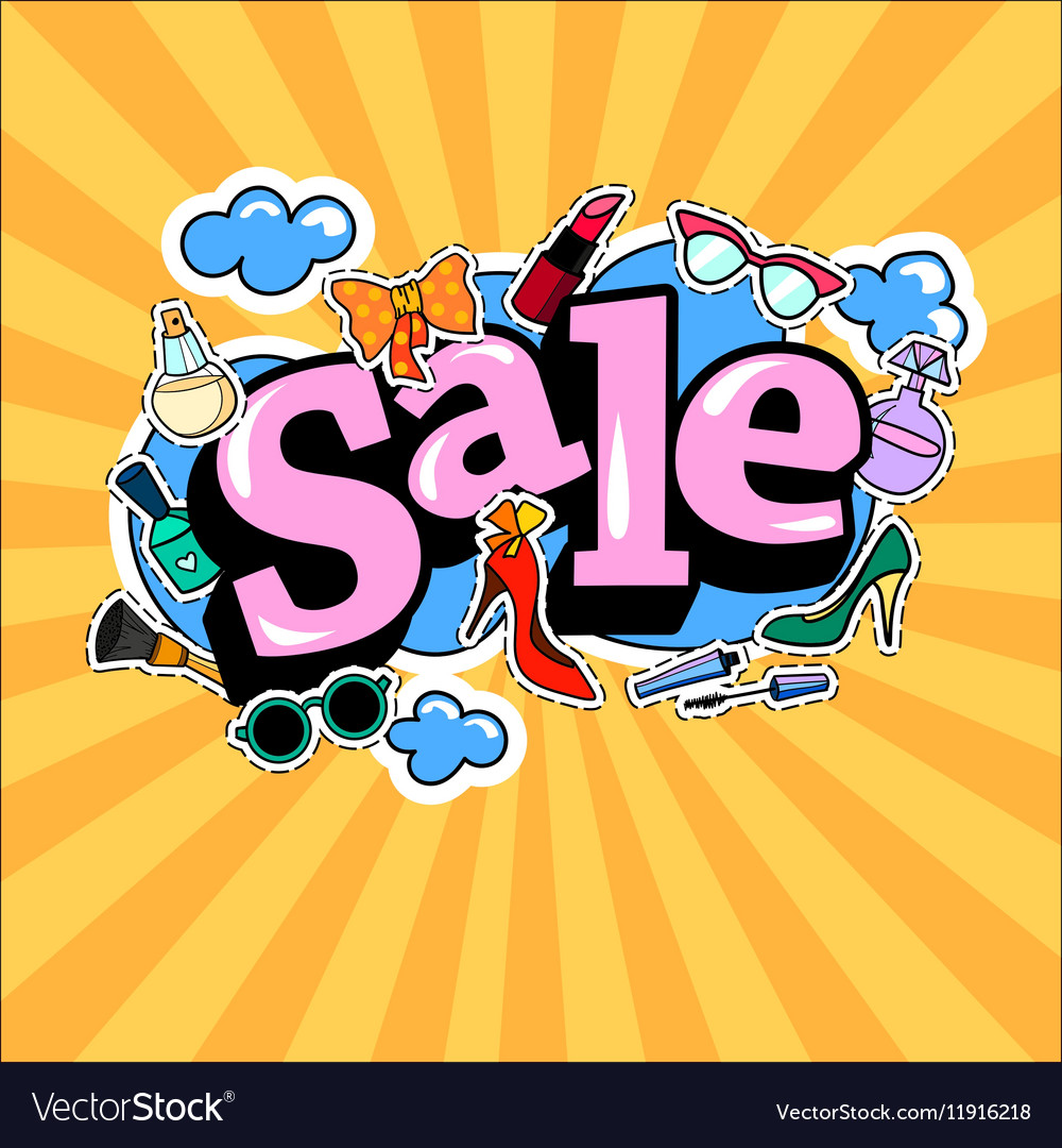 Poster banner with Fashion Patch Badges on Bright vector image