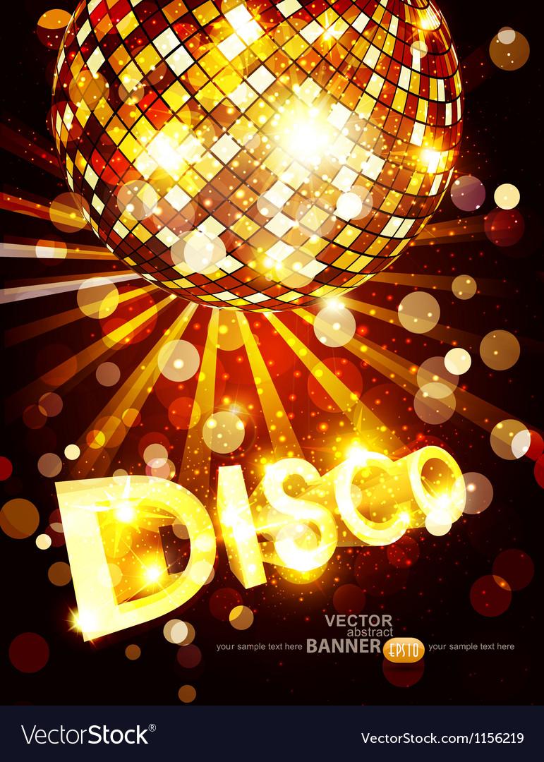 Vertical disco background with golden disco ball Vector Image