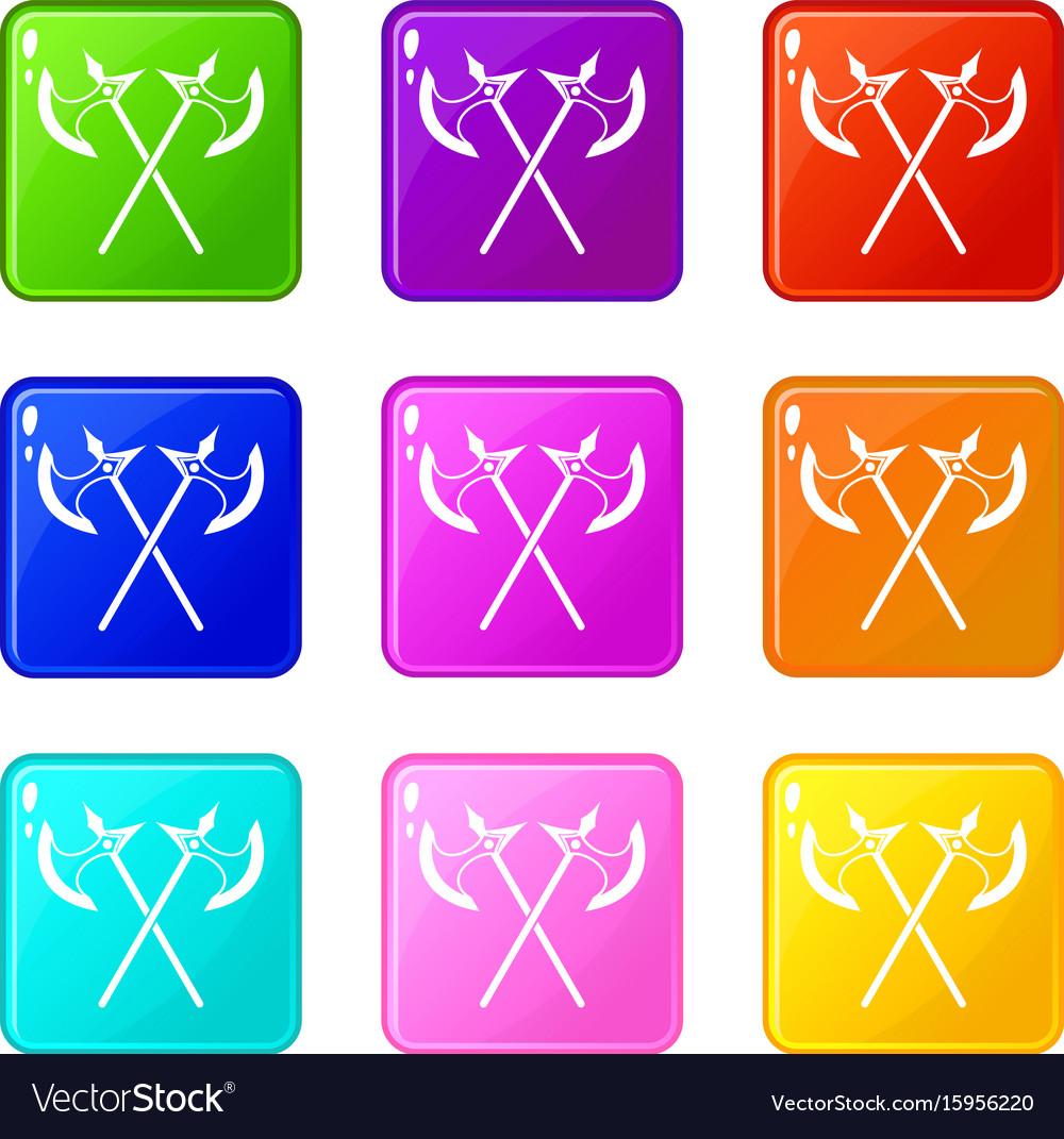 Crossed battle axes set 9 vector image