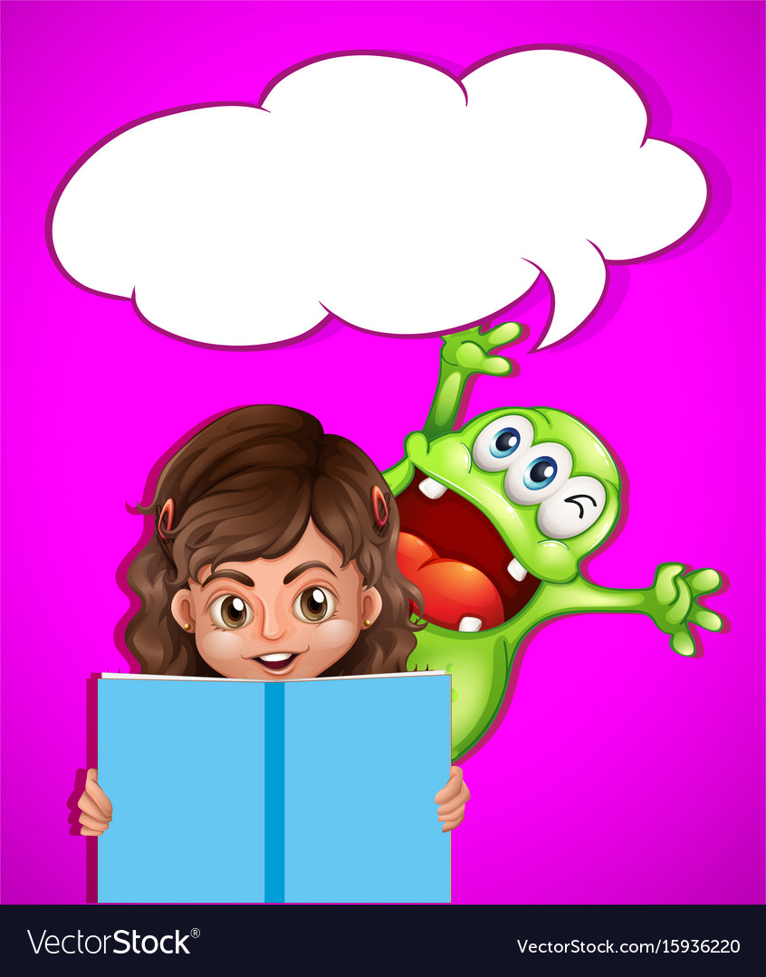Girl and monster reading book vector image